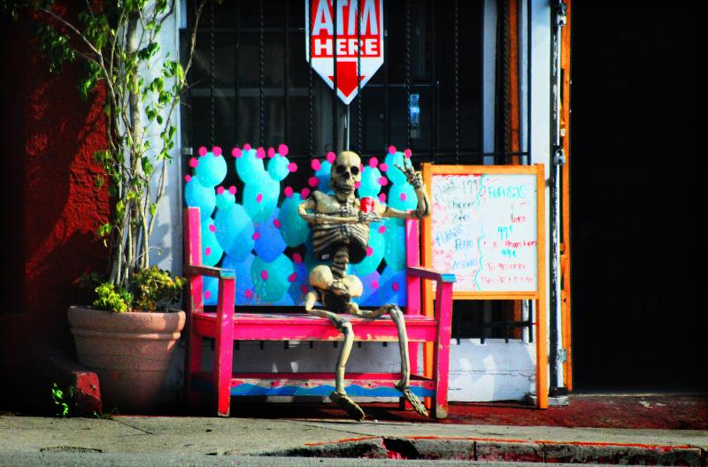waiting skeleton restaurant