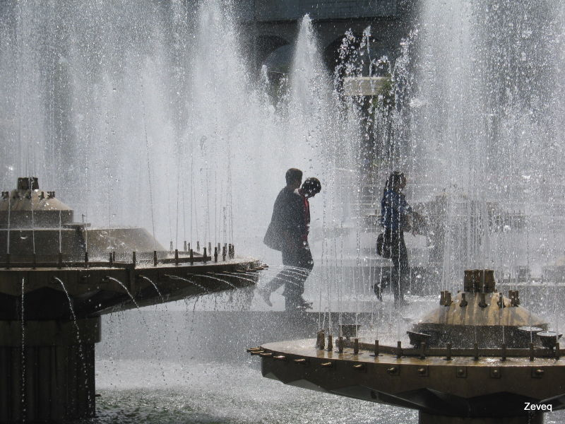 fountains in the central square in Bishkek, kyrgyz