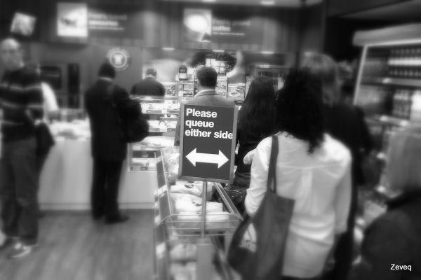 British queueing instinct overpowers obedience