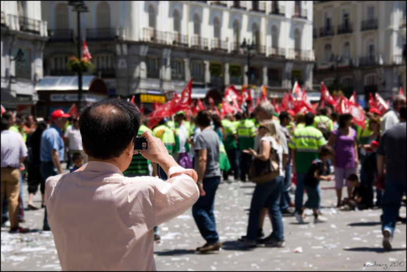 photographing the strike