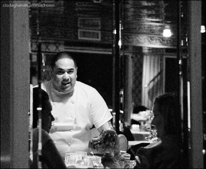 chef and diners