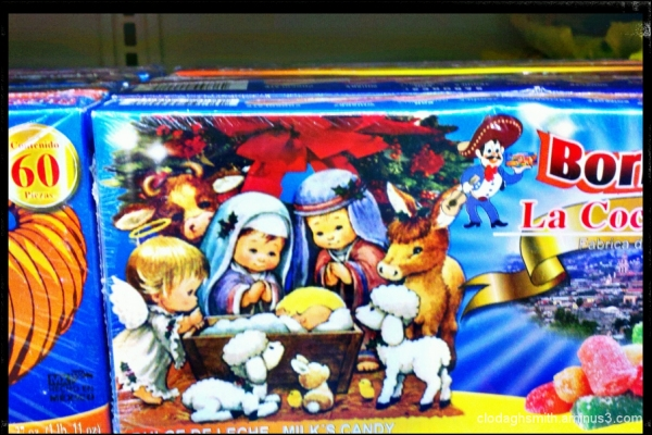 poodle-sheep at the manger