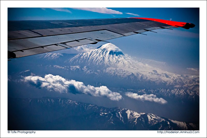 Damavand mountain from the airplane