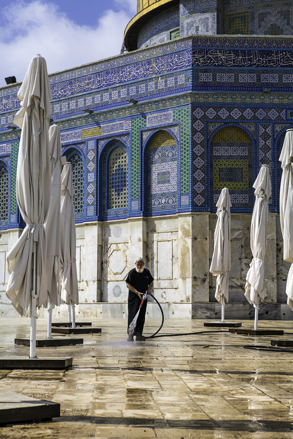 cleaning the holy square
