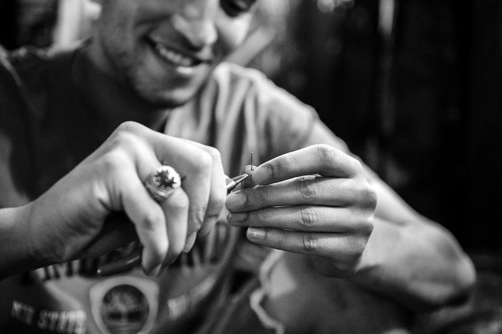 hammada, making earrings for me