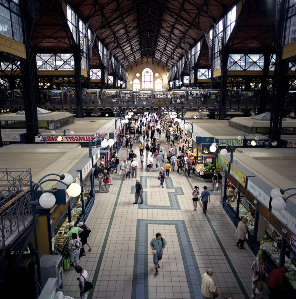 busy market hall