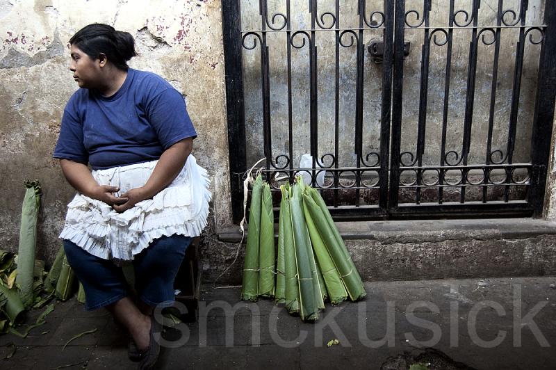 selling banana leaves, Grenada, Nicaragua