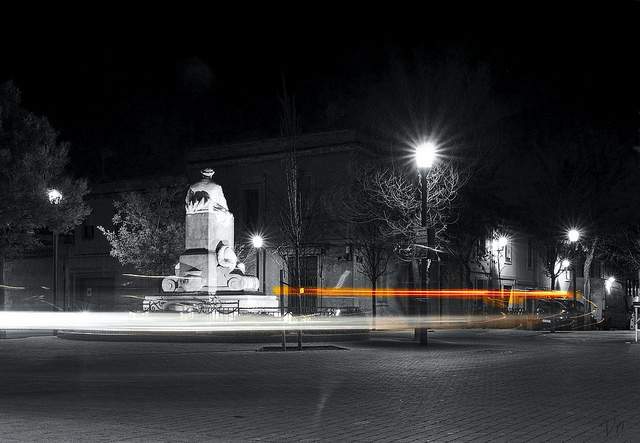 Night mood in a square
