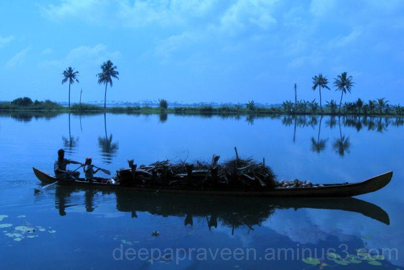 boat,kerala,india,blue,lake,backwater,deepaphotos,