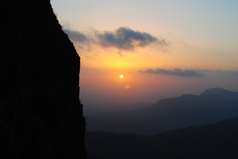 Sun set at Raigad fort