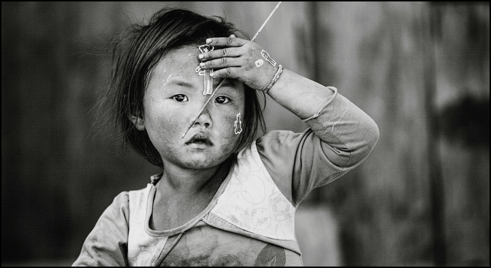 Vietnamese girl playing