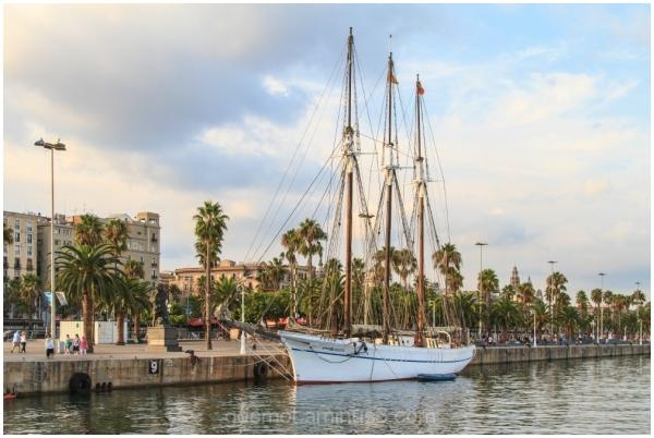 Saling Ship at the Port of Barelona