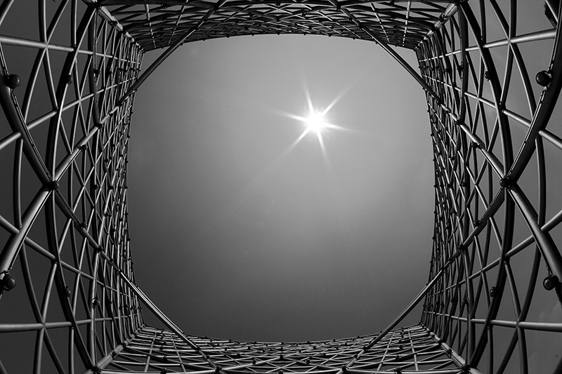 Architecture, star, sun, black and white, fish eye