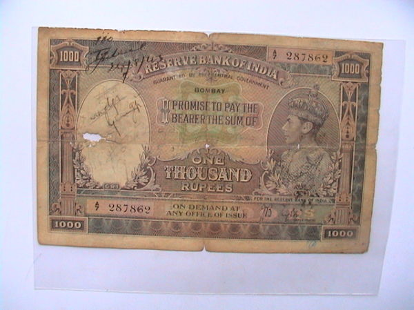 An old Indian Rs.of 1000/-