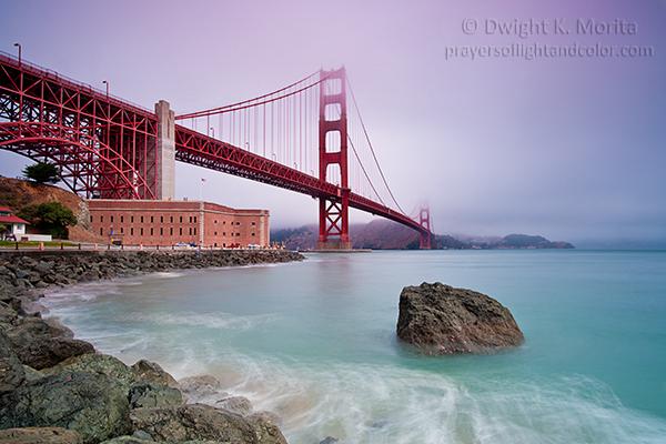 Golden Gate Bridge and Fort Point in morning fog