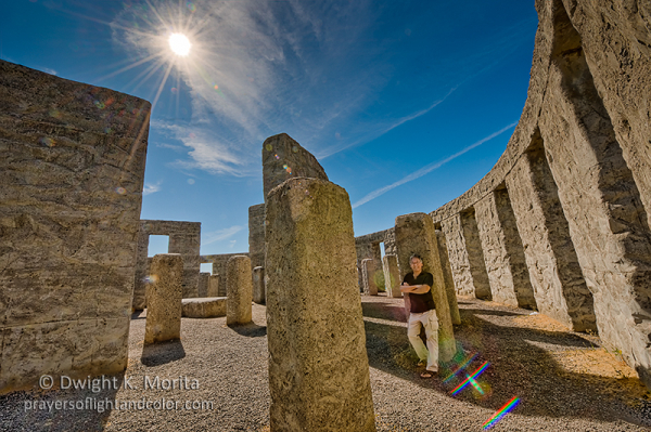 Self portrait amid Stonehenge memorial in Maryhill
