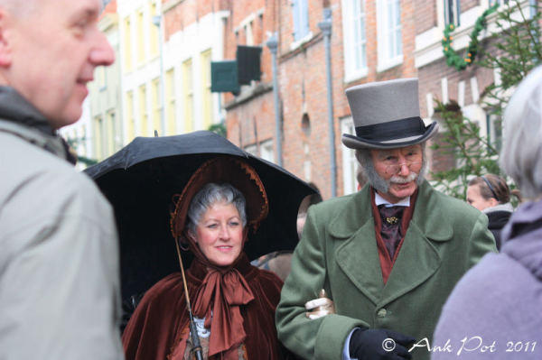 Oldfashioned couple at Dickens Festival