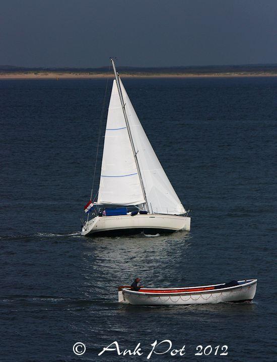 sailingboat and motorboat