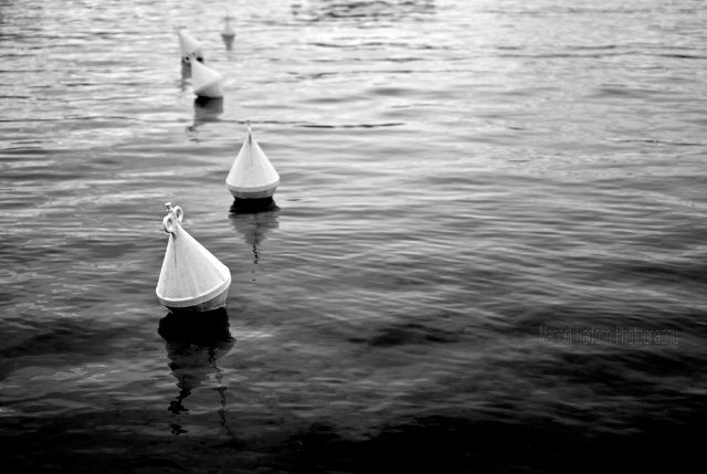 Buoys in a line