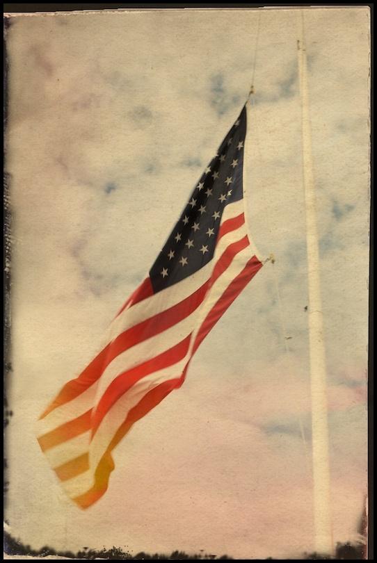 american flag on flag pole