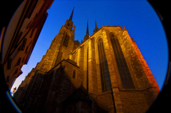 Petrov cathedral Brno at dusk