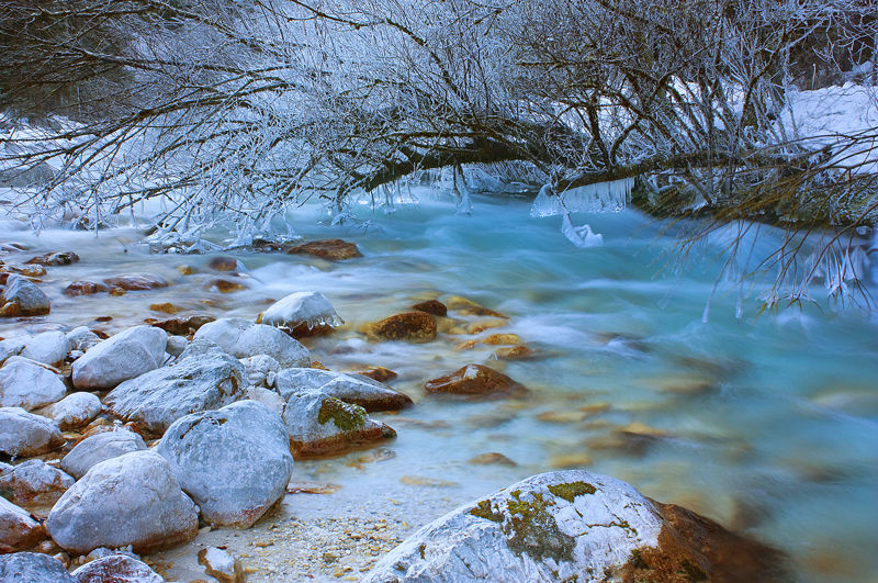 bistrica river in winter vrata valley slovenia