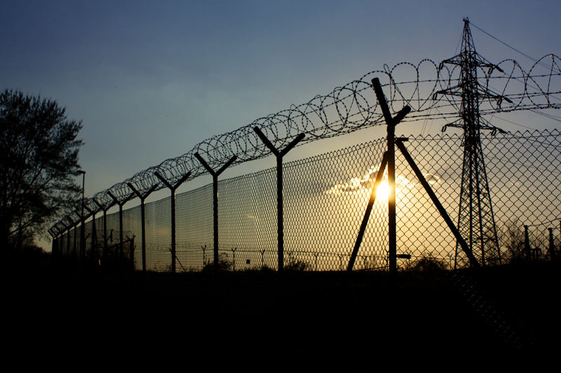 barbed wire fence silhouette
