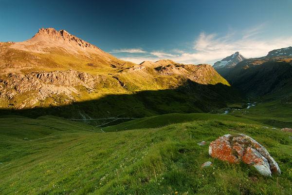 sunset in vanoise alps france