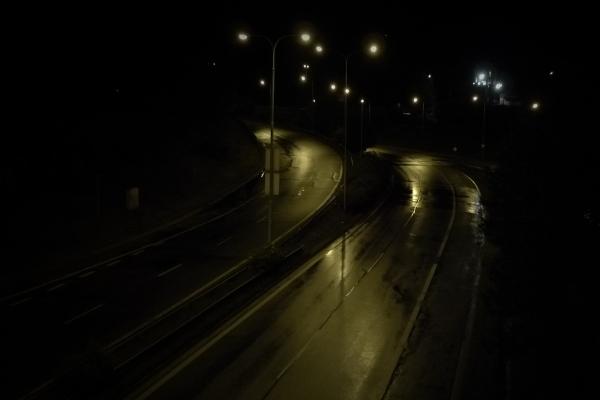 Shiny road curves at night