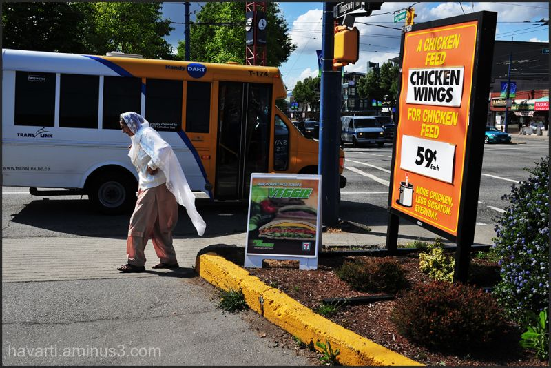 streetphotography woman walking chickenfeed