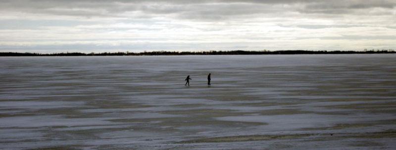 A couple skating on Lake Ontario