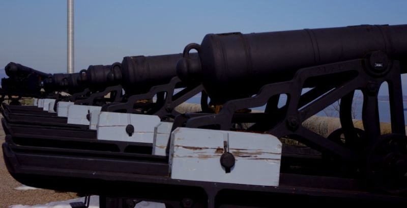 A battery of guns on the King's Bastion of the Cit