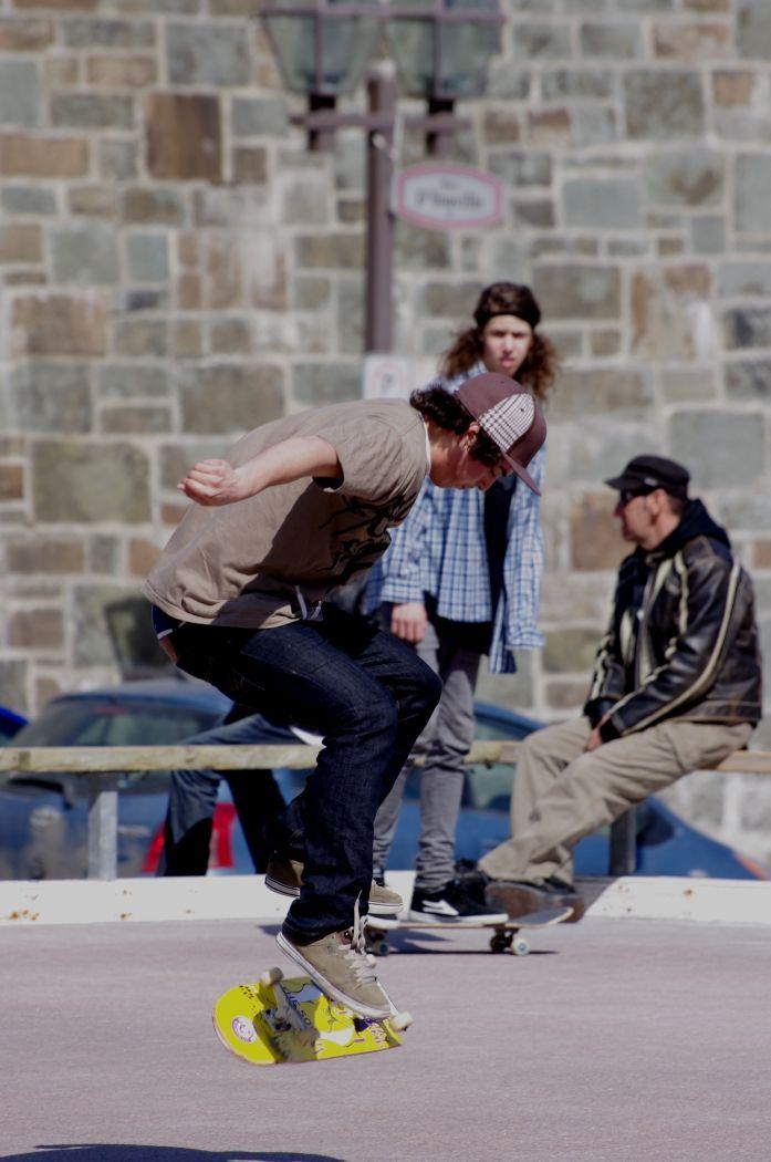 A few guys out skateboarding