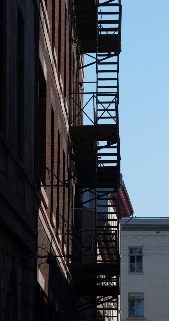 A fire escape in old Quebec