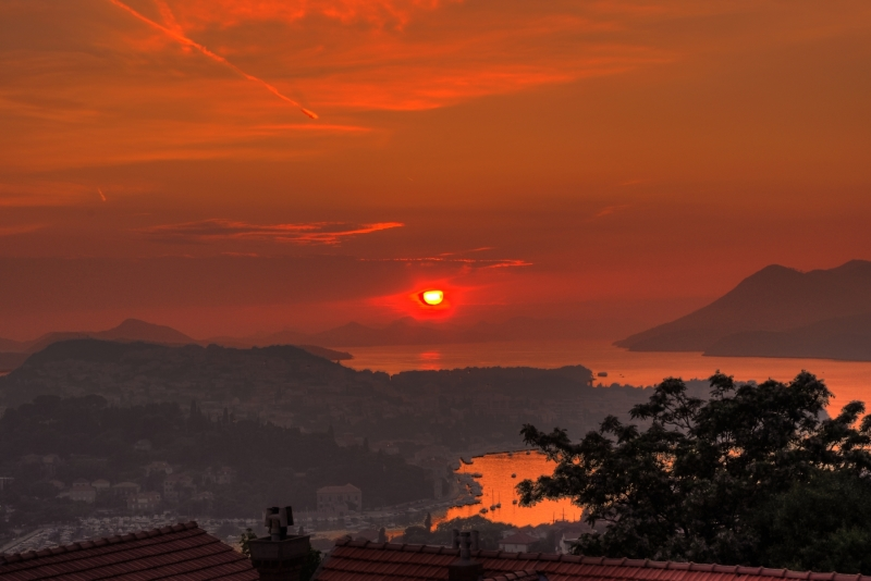 Sunset in Dubrovnik over the Dalmatian Islands