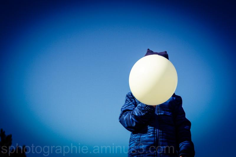 ballon, enfant, ciel, bleu, blanc