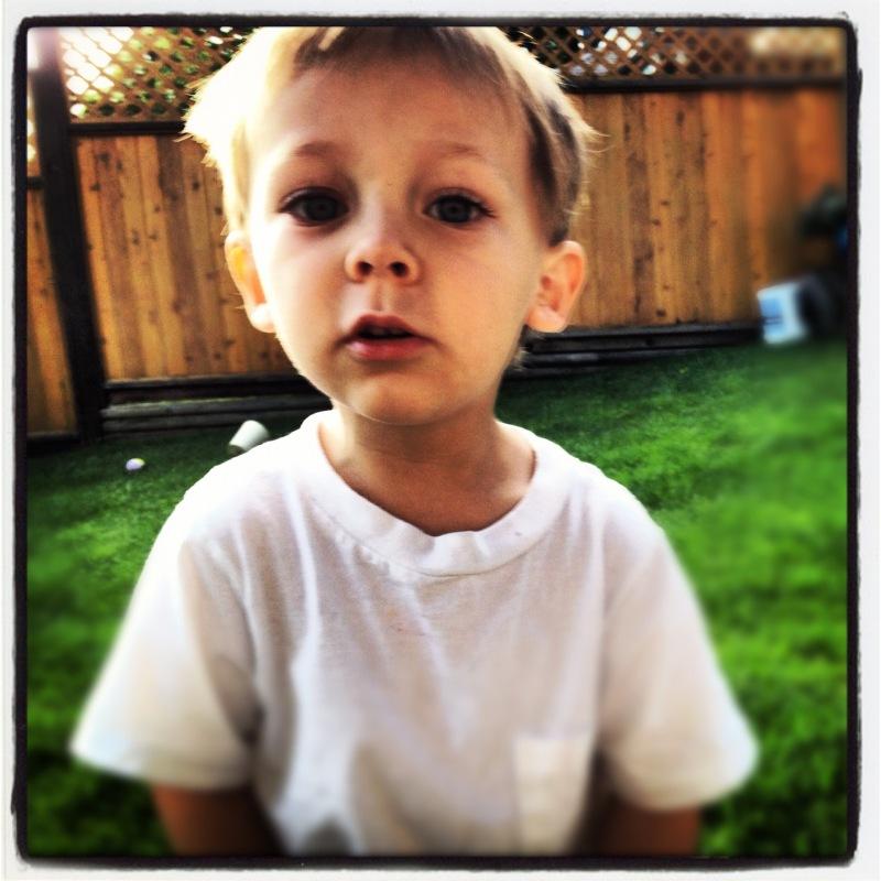 kid in backyard