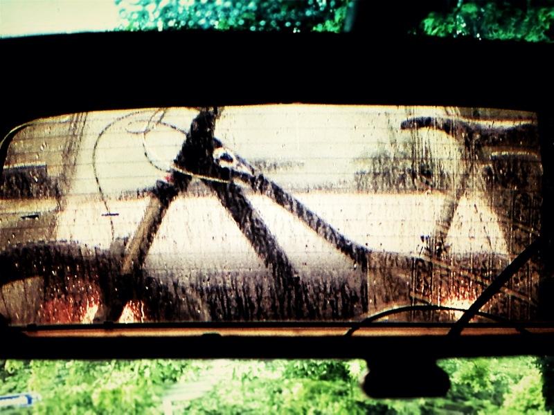 rear view of mountain bike in rain