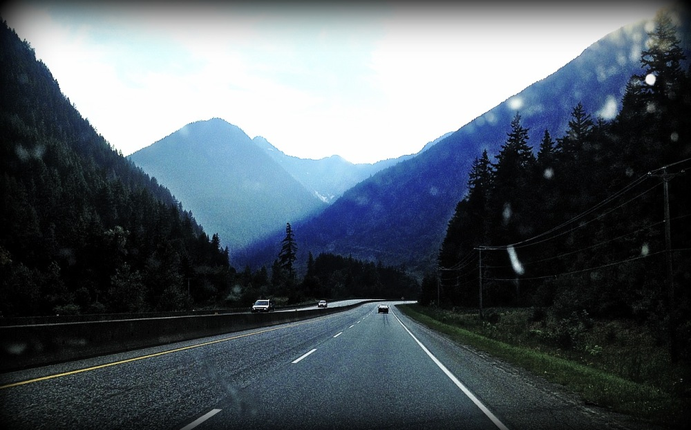 View from drivers seat on Coquihalla