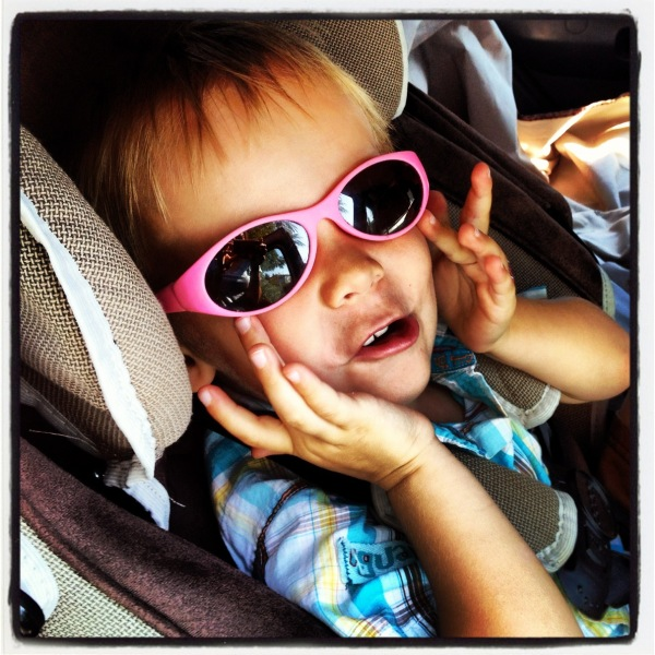 Kid with pink shades