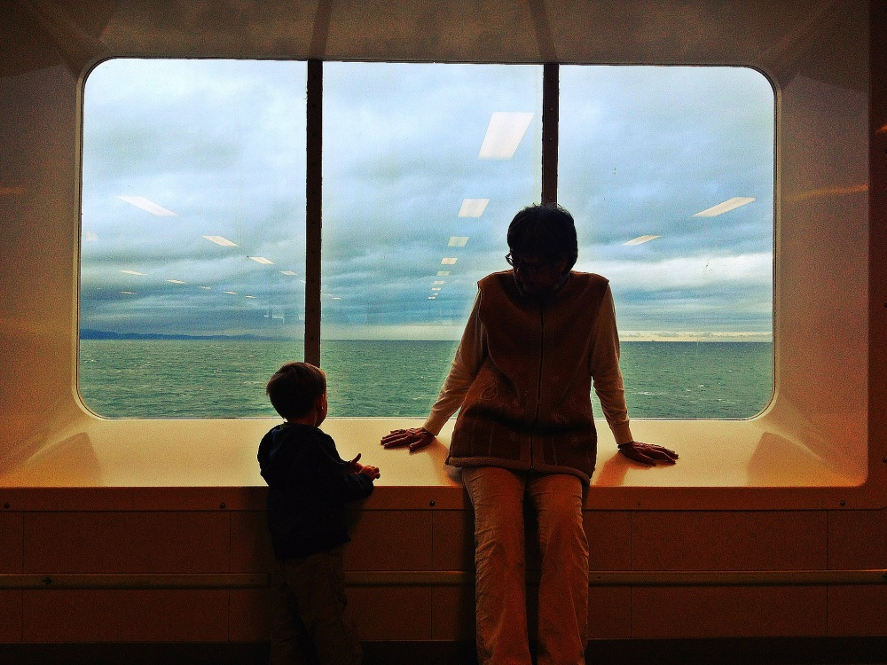 kid and grams on ferry