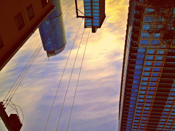 upside down city view