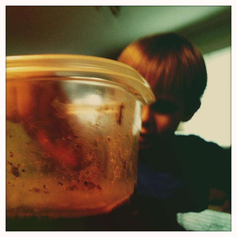 Little boy making a mix