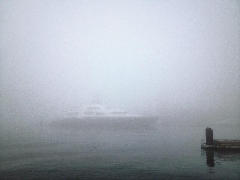 Nova spirit docked in fog