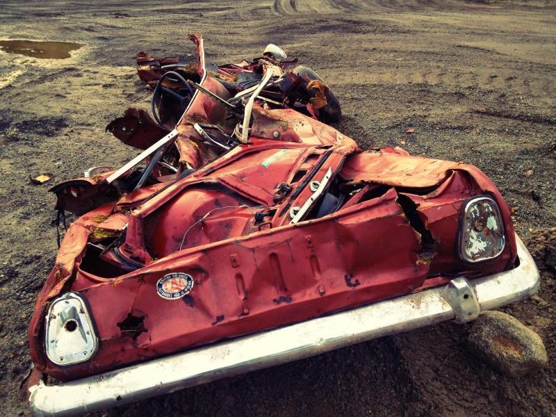 Crushed car