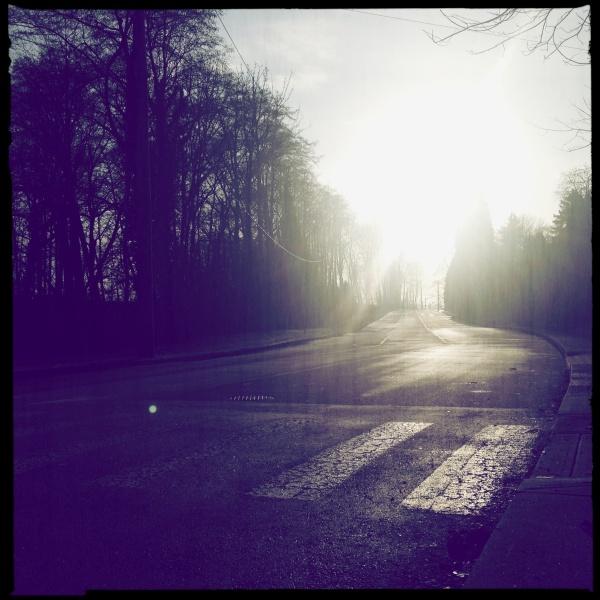 Setting sun on Heywood street