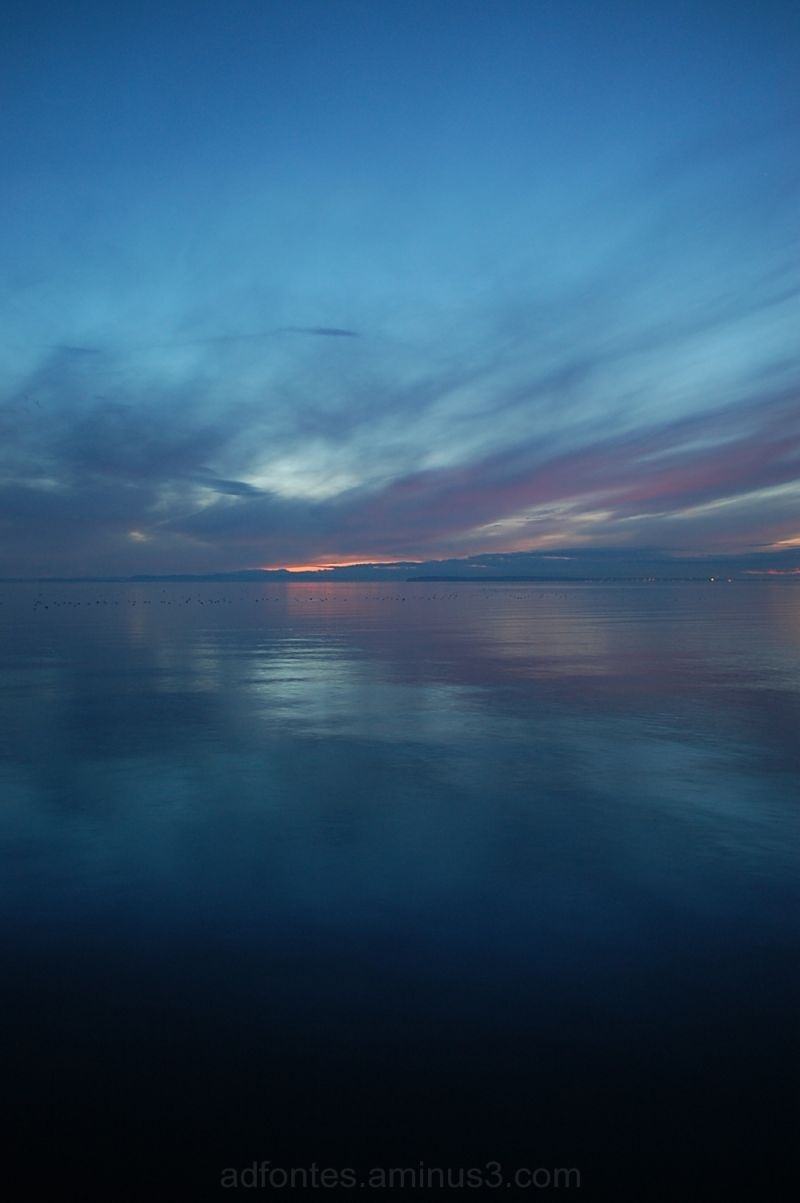 Twilight sunset at White Rock Beach, BC, Canada