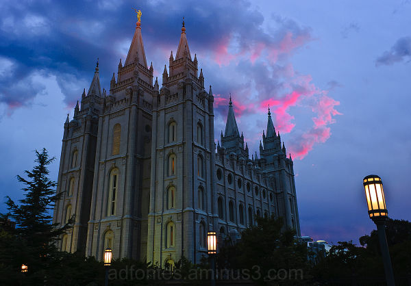Last Light over the Salt Lake City LDS Temple