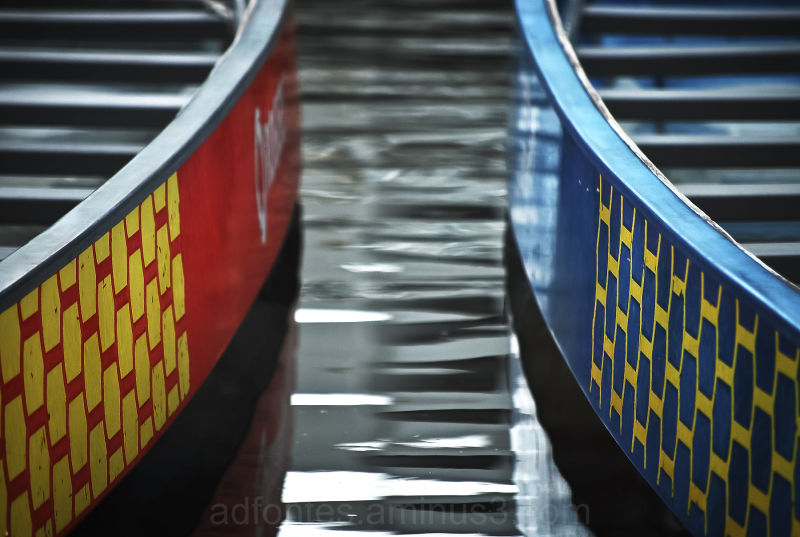 Colorful Canoes and Water Ripples in Vancouver BC