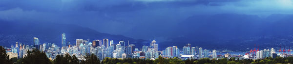 Stormy Panoramic View Downtown Vancouver BC Canada